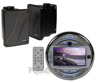 "Marine MGH30BT AUX USB iPod iPhone Input 3"" LCD, Kicker 6.5"" Black Box Speakers"