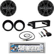 "CD USB Dual Stereo, FLHTC Harley FLHT Dash Kit, Antenna, Kicker 6.5"" Speaker Set"