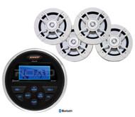 "Jensen Bluetooth USB AUX AM FM Marine Radio, 4 Kenwood Marine 6.5"" 2Way Speakers"