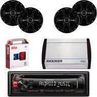 """Kenwood KDC-122U Car Audio CD USB Strereo, 4 X 41DSC654 Kicker 6.5"""" Car Speaker, Kicker 4-Channel 400 Watts Marine Amp, 8 Gauge Car Amp Install Kit"""