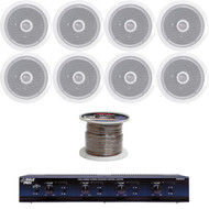 "4 Channel Speaker Selector, 6.5"" 250W 2-Way Ceiling Speakers, 100FT Speaker Wire"
