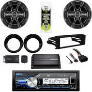 JVC USB Stereo, XM Tuner, Harley FLHX Install Adapter DIN Kit, Amp, Speaker Set