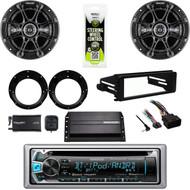 "Bluetooth CD Kenwood-Harley FLHX Install DIN Kit, XM Tuner, Amp, 6.5""Speaker Set"