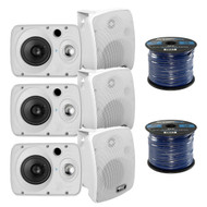 Pyle PDWR64BTW Waterproof and Bluetooth 6.5'' Indoor/Outdoor Speaker System, 800 Watt, White, Pair, 16 Gauge 50 Foot Marine Speaker Wire