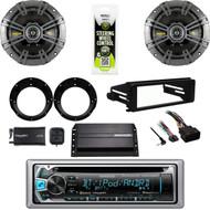 """Kenwood Stereo, Harley FLHX DASH Install Kit, Amp, 6.75"""" Speaker Set, XM Tuner"""
