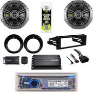 Bluetooth CD Stereo, Amp,XM Tuner,Kicker Speaker Set,Harley FLHX Install DIN Kit