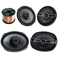 This Bundle Combo Kit Includes Pair Of Kicker 41KSC654 6.5 6 1/2 Inch Car Stereo Speakers + 2x Kicker 41KSC694 600 Watt Speaker With Poly Switch + 2x 25ft (total of 50 Feet) 16 Gauge Speaker Wire