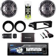 JVC Marine USB -Harley FLHTC Dash Install Kit, Speaker Set, 300W Amp, XM Tuner