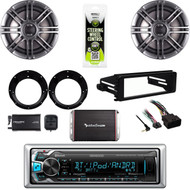 Bluetooth USB Harley FLHTC Install FLHTC DIN Kit, Amp, Polk Speaker Set,XM Tuner