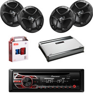 "1 X In Dash Pionner DEH150MP Car Receiver, 2 X Pair JVC CSJ620 6x5"" Speakers, 1 X MB Quart NA3604 4 Ch Amp, 1 X 8g Install Kit"