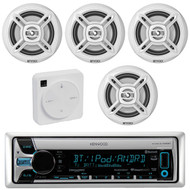 "Package Bundle Kit Includes: 1 Kenwood KMR-D765BT Bluetooth Stereo USB/AUX CD Player Receiver Unit + 4x (2 Pairs) of Enrock EKMR1672B 6-1/2"" Inch White Marine Speakers + 1 Dual XGPS10M Boat Bluetooth Wireless GPS Receiver"