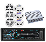 Boss AUX AM FM USB Bluetooth iPod  Radio, 400W Amplifier,6 White Marine Speakers