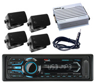Marine Mp3 Bluetooth iPod AUX USB Radio&Amplifier,Antenna,4 Black Box Speakers