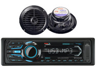 "2 Black 6.5"" 120W Marine Speakers & Boss Marine Bluetooth USB iPod AUX Receiver"