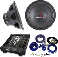 "PACKAGE Bundle KIT INCLUDES: 1 Pair (total of 2) Massive Audio TKO124 TKO Series 600 Watts 12"" Dual 4 Ohm Car Audio Subwoofer + 1 Lanzar Heritage HTG257 2000 Watt 2-Channel Mosfet Amplifier Amp = 1 Cadence WK81 Complete 8 Gauge Wire Kit."