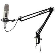New PMKSH01 Suspension Boom Scissor Microphone Stand Studio Radio Shock Mount Holder, Adjustable and Extendable Arm, Angle and Tilt Positioning, Universal Table Clamp Mount Style