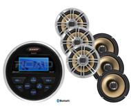 "Jensen Bluetooth Marine USB AUX Round Radio, 6 Polk 6.5"" 2way Coaxial Speakers"