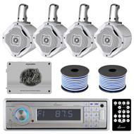 "1600W Marine Amplifier,Lanzar Bluetooth Silver USB CD Radio, 6.5"" Speakers&Wires"