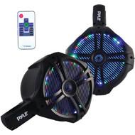 Pyle Marine Wakeboard Water Resistant Speakers, Built-in Programmable Multi-Color LED Lights, 8'' Tower Speakers, 260 Watt, Remote Control, Black (Pair)