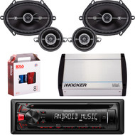 """Kenwood KDC-122U Car Audio CD USB Strereo, Pair Kicker 41DSC684 6x8"""" 4-Ohm Car Speakers, Pair Kicker 3.5"""" Coaxial Car  Speakers, Kicker 4-Channel 400 Watts Marine Amp, 8 Gauge Car Amp Install Kit"""