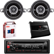 "Kenwood KDC-122U Car Audio CD USB Strereo, Pair Kicker 3.5"" Coaxial Car  Speakers, Kenwood KAC-5206 400W  2-Ch Car Amplifier, 8 Gauge Car Amp Install Kit"