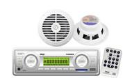 200W White Marine PLMR89WW USB MP3 SD Weather Band Radio Receiver 2 New Speakers