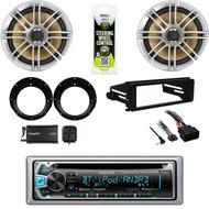 """Kenwood Bluetooth, Harley FLHT CD Dash Kit, XM Tuner, 6.5"""" Speakers, Adapters"""