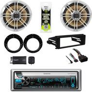 """6.5"""" Polk Speakers & Adapters, CD Stereo, Harley FLHT Dash Install Kit, XM Tuner"""