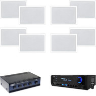 """6.5"""" In-Wall White Speakers, Speaker Selector, Pyle 300W USB SD Home Receiver"""