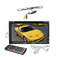 "Lanzar 7""Bluetooth CD DVD GPS Touch Screen Receiver, Silver License Plate Camera"
