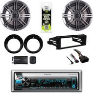 "Bluetooth Kenwood Marine FLHTC Harley Install DIN Kit,6.5"" Speaker Set, XM Tuner"