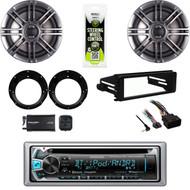 Kenwood CD Bluetooth Harley 98-2013 FLHTC Dash Kit, Speaker, Adapters, XM Tuner