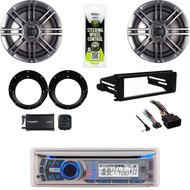 Dual Bluetooth CD Stereo, XM Tuner, 98-2013 Harley Install Kit, Polk Speaker Set