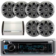"Kenwood KMR-D368BT Marine Boat Yacht CD MP3 Bluetooth Stereo AM/FM iPod iPhone Radio Player, Pair Kicker 41KM44CW 4"" 2-Way KM Series 4-Ohm Coaxial Marine Speakers, Kicker 40KXM400.4 4-Channel 400 Watts Marine Amplifier"