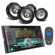 "6.5"" Coaxial Car Speakers & KWR710 JVC iPod CD USB AUX Double Din Car Receiver"
