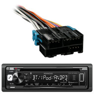 Kenwood KDC-BT265U In Dash CD DIN Bluetooth Stereo Receiver, Metra 70-1858 Radio Wiring Harness For 1988-2005 GM Car Vehicles