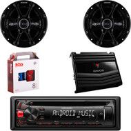 "Kenwood KDC-122U Car Audio CD USB Strereo, Pair 41DSC654 Kicker 6.5"" Car Speaker, Kenwood KAC-5206 400W  2-Ch Car Amplifier, 8 Gauge Car Amp Install Kit"