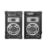 Pyle PSUFM826LED Pyle Disco Jam Dual Bookshelf Stereo Speaker System, USB/SD/MP3 Streaming, FM Radio, Flashing DJ Lights