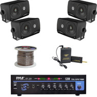 "Black 3.5"" Box Speakers, Lavalier Mic Set, Speaker Wire,PT210 Mono Mic Amplifier"