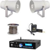 """Bluetooth PA Mini Amplifier, 5.6"""" Horn Speakers, Lavalier Mic Set, Speaker Wire"""