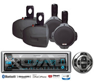 "4 Marine 8""Wakeboard Speakers,Kenwood Marine USB Bluetooth CD Radio/Wired Remote"