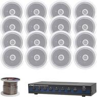 """Pyle 6.5"""" 2-Way 250W In-Ceiling Speakers, 8-Channel Speaker Selector, Wiring"""