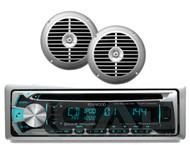 """Marine Kenwood iPod Bluetooth USB CD Radio, 2 Silver 6.5"""" 120W Marine Speakers"""