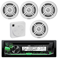 "Package Bundle Kit Includes: 1 JVC KD-R97MBS Bluetooth Stereo USB/AUX CD Player Receiver Unit + 4x (2 Pairs) of Enrock EKMR1672B 6-1/2"" Inch White Marine Speakers + 1 Dual XGPS10M Boat Bluetooth Wireless GPS Receiver"