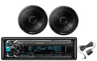 "Kenwood Car Bluetooth iPod USB Mp3 AUX Receiver,2 Black Pioneer 6.5""Car Speakers"
