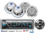 "4 Marine 6.5""2Way Speaker Set,Kenwood Bluetooth USB CD Marine Radio/Wired Remote"