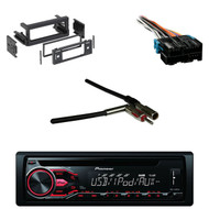 Pioneer CD USB AUX Car Radio, GM DIN Kit, Antenna Adapter, GM Wire Radio Harness