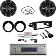 Bluetooth USB Stereo, Harley FLHX Install DIN Kit,Kicker Speaker Set,Amp,Antenna