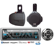 "Kenwood CD Marine Bluetooth USB Radio/Remote,2 Black 8"" 300W Wake Board Speakers"