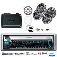 "Kenwood Bluetooth USB CD Radio, 4 Kicker 6.5"" Marine Speakers, Class D Amplifier"
